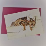 Bengal cat greetings card
