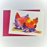 Two Fat Hens Card