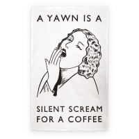 Coffee Yawn Tea towel