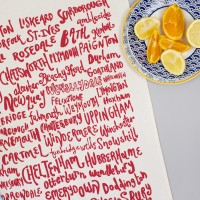 English Place Names Tea Towel