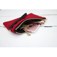 Wristlet Purse - Red Velvet with Black Lining