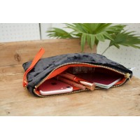 Midi Clutch - Dark Grey Velvet with Orange Lining
