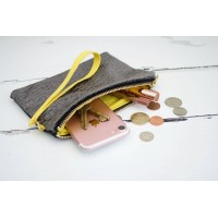 Wristlet Purse - Grey Velvet with Yellow Lining