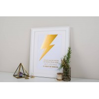 David Bowie Gold Foil Quote Print (a4, Unframed)