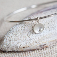 Circles and Pearls Charm Bangle