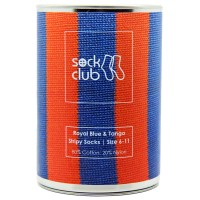 Royal Blue & Tango Stripy Tinned Sock | Sock Club