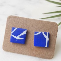 Stud Earrings- White On Blue Twig Square