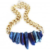 Rocked Up crystal quartz necklace - sapphire