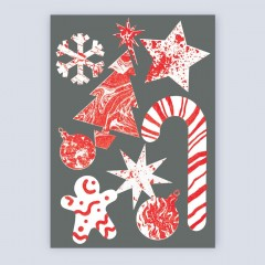 A6 Greetings Card 'Festive Pattern' (Grey)