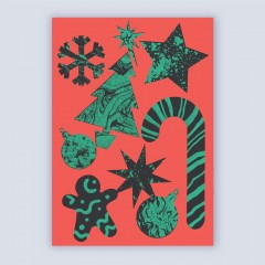 A6 Greetings Card 'Festive Pattern' (Red)