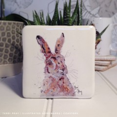 Handcrafted 'hare' Coaster