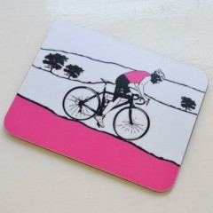 Female Cyclist - Pink Coaster