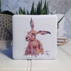 Handcrafted 'Inquisitive Hare' Coaster