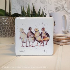 Handcrafted 'four Ducklings' Coaster