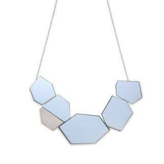 Ella necklace in Peaceful Blue Formica, steel, walnut and silver