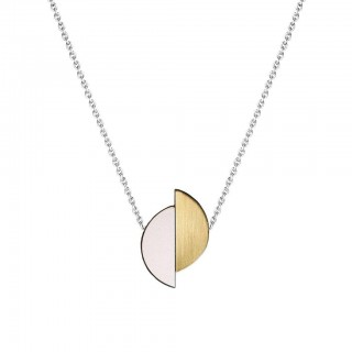 Lizzie necklace in Just Rose Formica, brass, walnut and silver