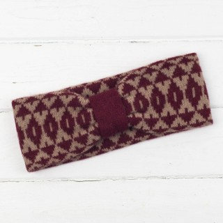 Mirror Knitted Headband - Red And Camel