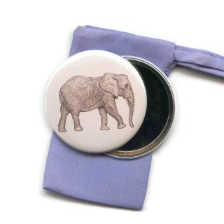 Elephant Pocket Handbag Mirror in Pouch