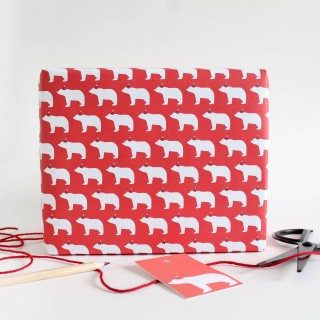 Bears In Santa Hats, Wrapping Paper