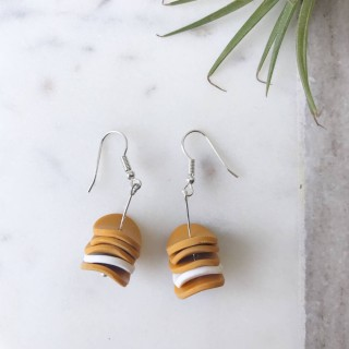 Dangle Earrings- Mustard And White Discs