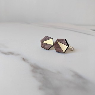 Adam Cufflink in brass, walnut & silver