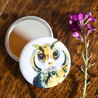 Inky Owl Pocket Mirror