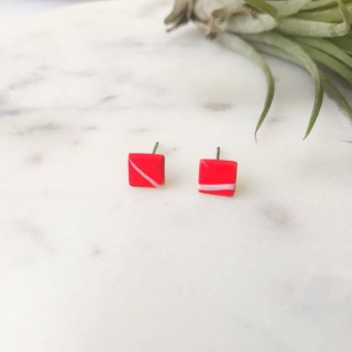 Stud Earrings- Mini White On Red Twig Round