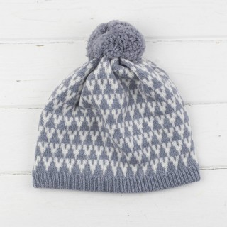 Arrow Knitted Pom Pom Hat - Seal And White