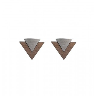 Art Cufflink in steel, walnut & silver