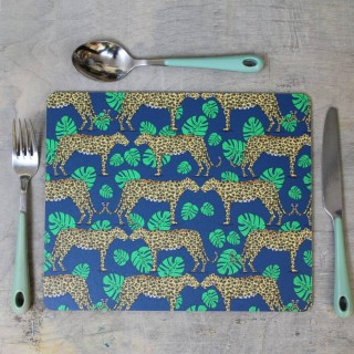 Leopard And Monstera Leaf Placemat (set Of 4)