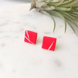 Stud Earrings- White On Red Twig Square