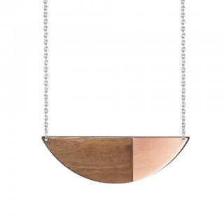 Alexandra necklace in copper, walnut and silver
