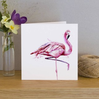 Inky Flamingo Greeting Card