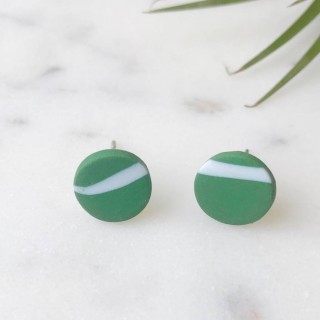 Stud Earrings- White On Green Twig Rounds