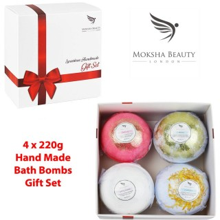 Bath Bombs Gift Set - 4 X 200g Fizzies With Essential Oils - Handmade In Uk
