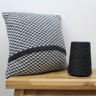 Lambswool knitted cushion - charcoal