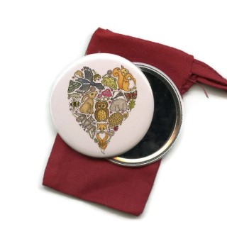 Love Nature Heart Pocket Handbag Mirror in Pouch