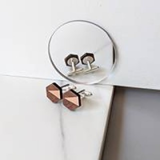 Adam Cufflink in copper, walnut & silver