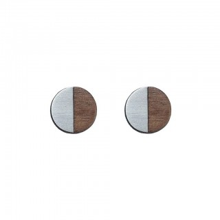 James Cufflink in steel, walnut & silver