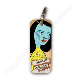 Tretchikoff's Chinese Girl Rustic Wooden Key Ring