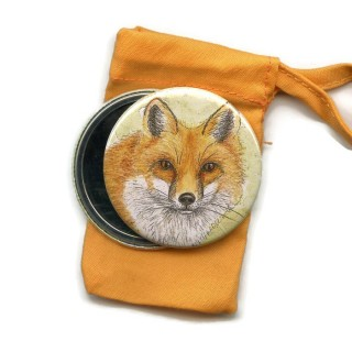 Fox Pocket Handbag Mirror in Pouch