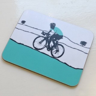 Male Cyclist - Turquoise Coaster