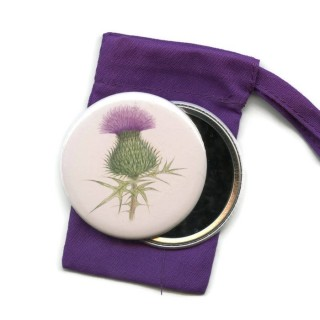 Scottish Thistle Pocket Handbag Mirror in Pouch