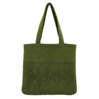 Green Treeline Tote Bag - Dark Apple
