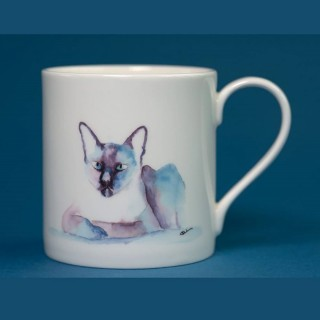 Bone China Mug With Siamese Cat Print