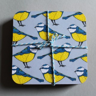 Bold Blue Tit Coaster (set Of 4)