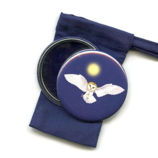 Barn Owl Pocket Handbag Mirror in Pouch