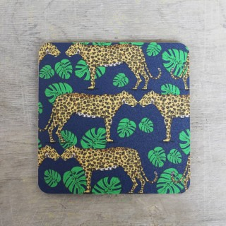 Leopard And Monstera Leaf Coaster Set (set Of 4)