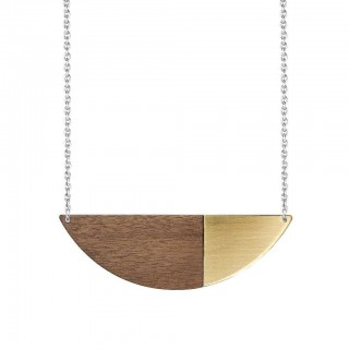Alexandra necklace in brass, walnut and silver