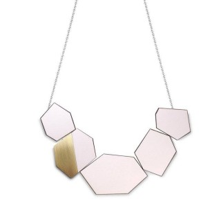 Ella necklace in Just Rose Formica, brass, walnut and silver